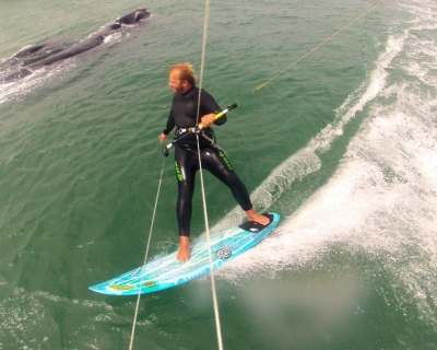 Franca whales getting the chance to see if they like kiteboarding with the BLADE team